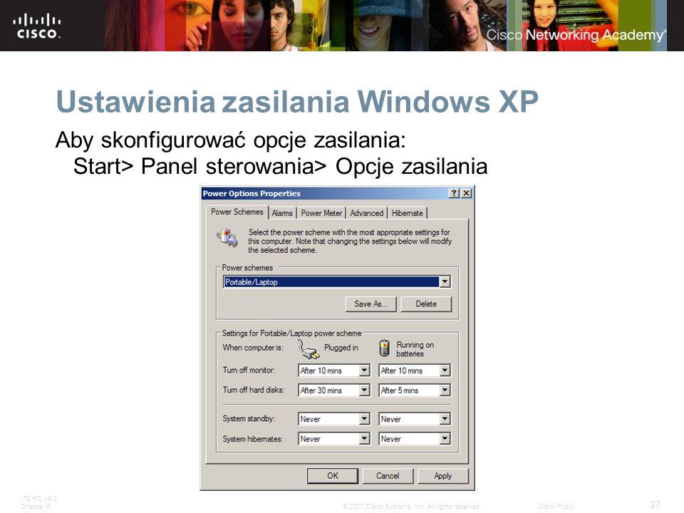 Ustawienia zasilania Windows XP