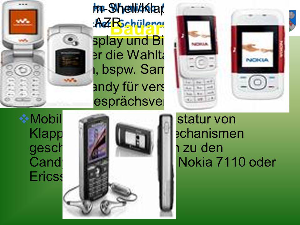 Bauarten Folder/Clam-Shell/Klapphandy, bspw. Motorola RAZR