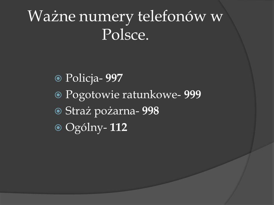Ważne numery telefonów w Polsce.