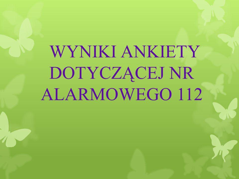 WYNIKI ANKIETY DOTYCZĄCEJ NR ALARMOWEGO 112