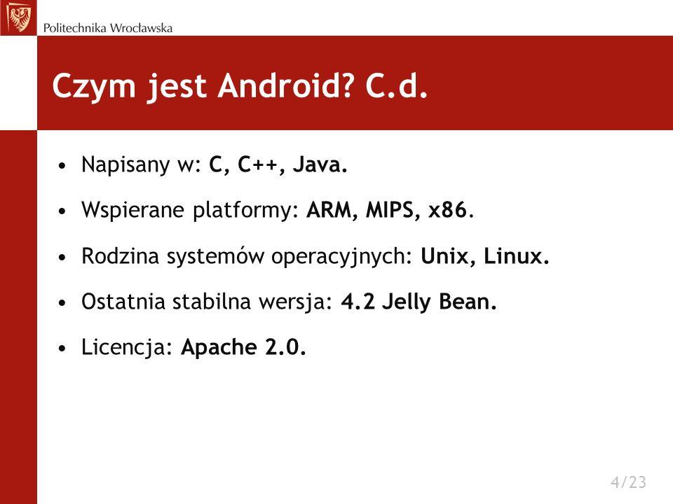 Czym jest Android C.d. Napisany w: C, C++, Java.
