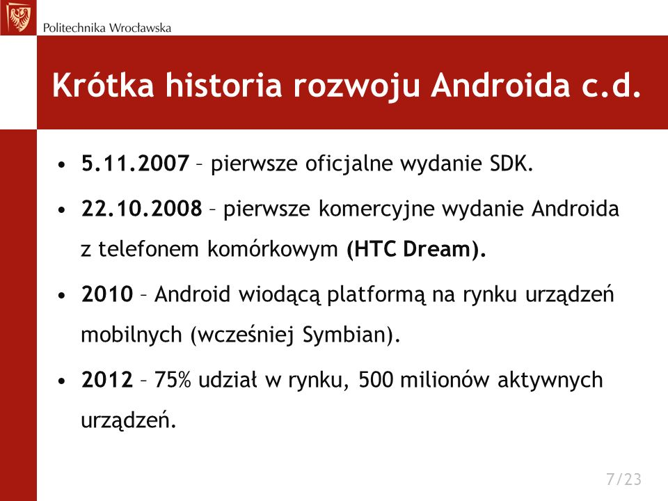 Krótka historia rozwoju Androida c.d.