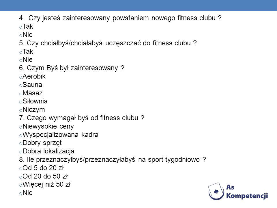 4. Czy jesteś zainteresowany powstaniem nowego fitness clubu