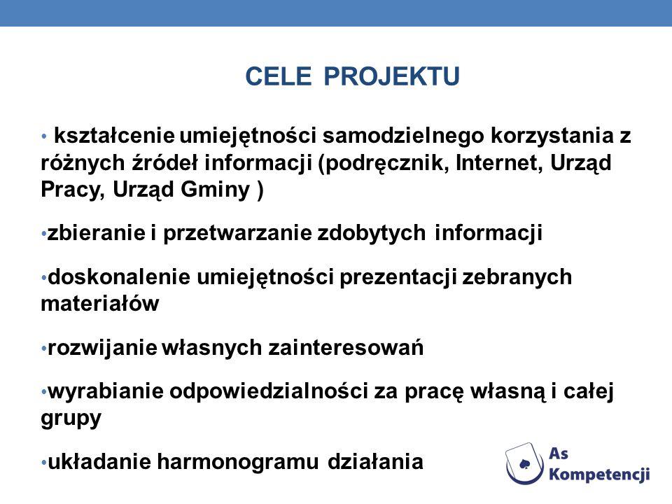 CELE PROJEKTU kształcenie umiejętności samodzielnego korzystania z różnych źródeł informacji (podręcznik, Internet, Urząd Pracy, Urząd Gminy )