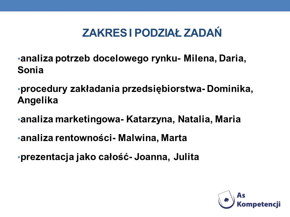 Zakres i podział zadań analiza potrzeb docelowego rynku- Milena, Daria, Sonia. procedury zakładania przedsiębiorstwa- Dominika, Angelika.