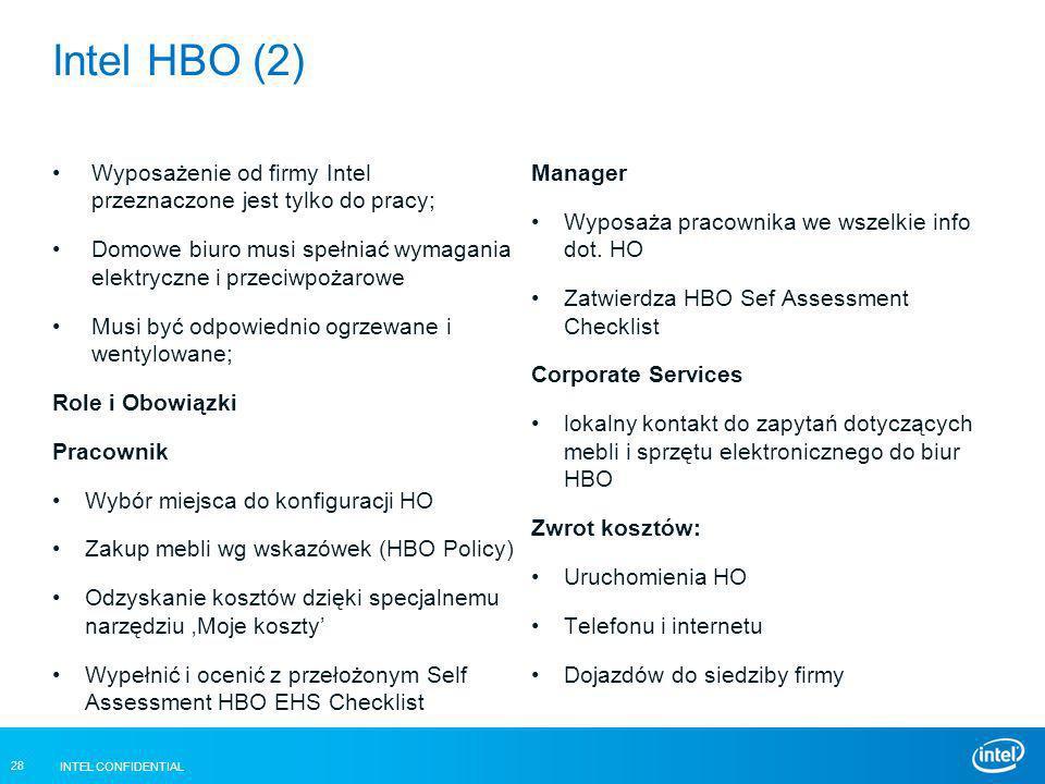 Intel HBO (2) Wyposażenie od firmy Intel przeznaczone jest tylko do pracy; Domowe biuro musi spełniać wymagania elektryczne i przeciwpożarowe.