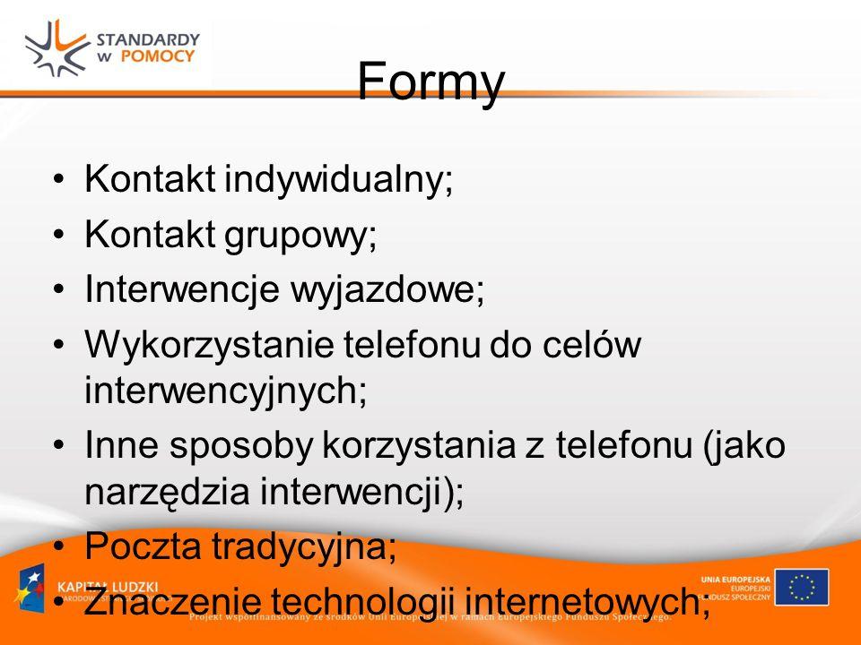 Formy Kontakt indywidualny; Kontakt grupowy; Interwencje wyjazdowe;