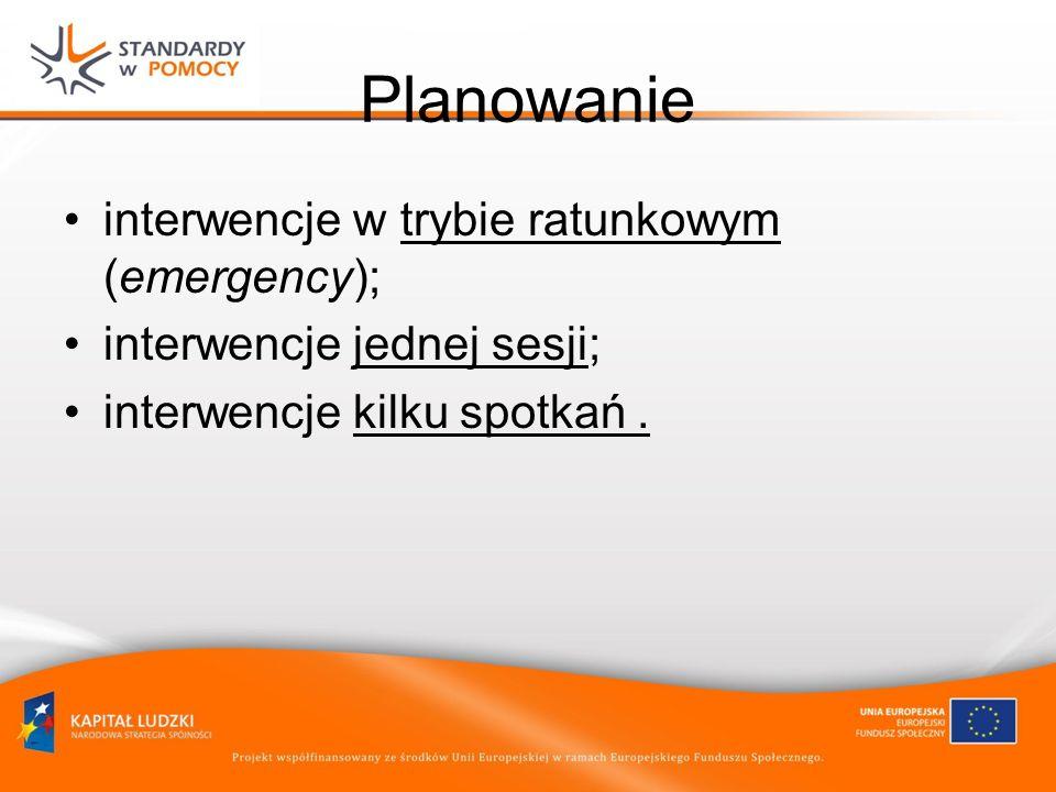 Planowanie interwencje w trybie ratunkowym (emergency);