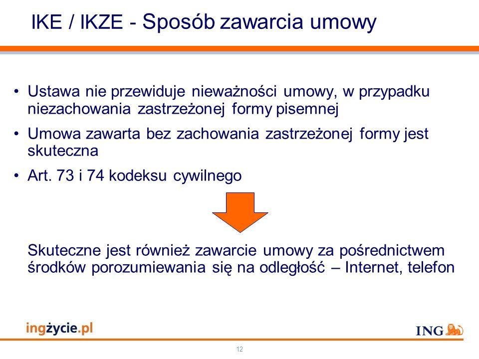 IKE / IKZE - Sposób zawarcia umowy