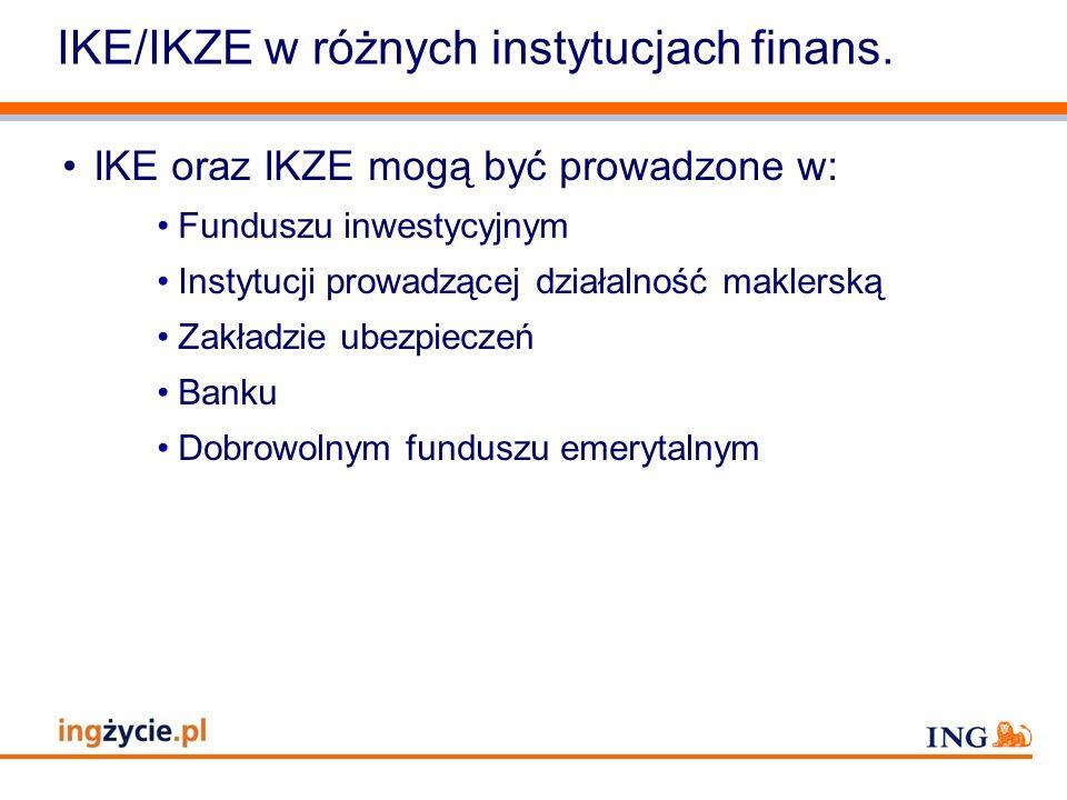 IKE/IKZE w różnych instytucjach finans.