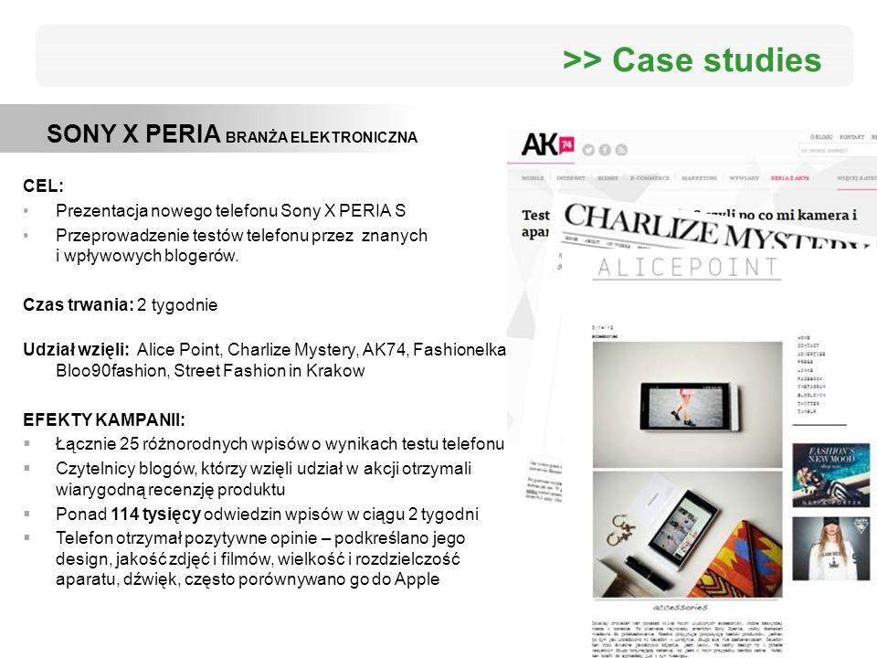 >> Case studies SONY X PERIA BRANŻA ELEKTRONICZNA CEL: