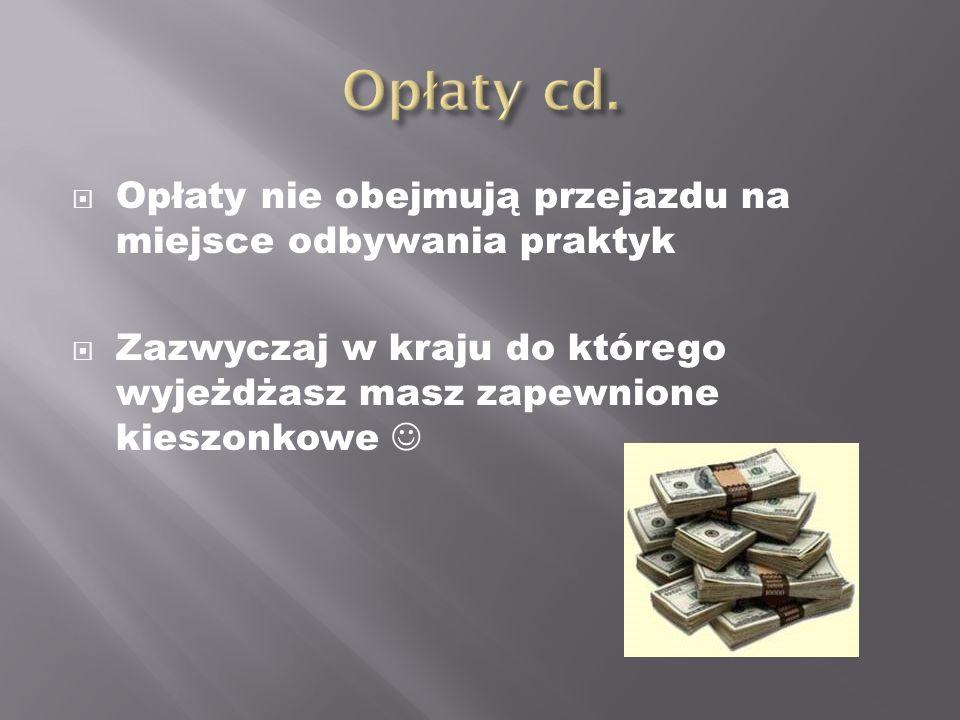 Opłaty cd. Opłaty nie obejmują przejazdu na miejsce odbywania praktyk