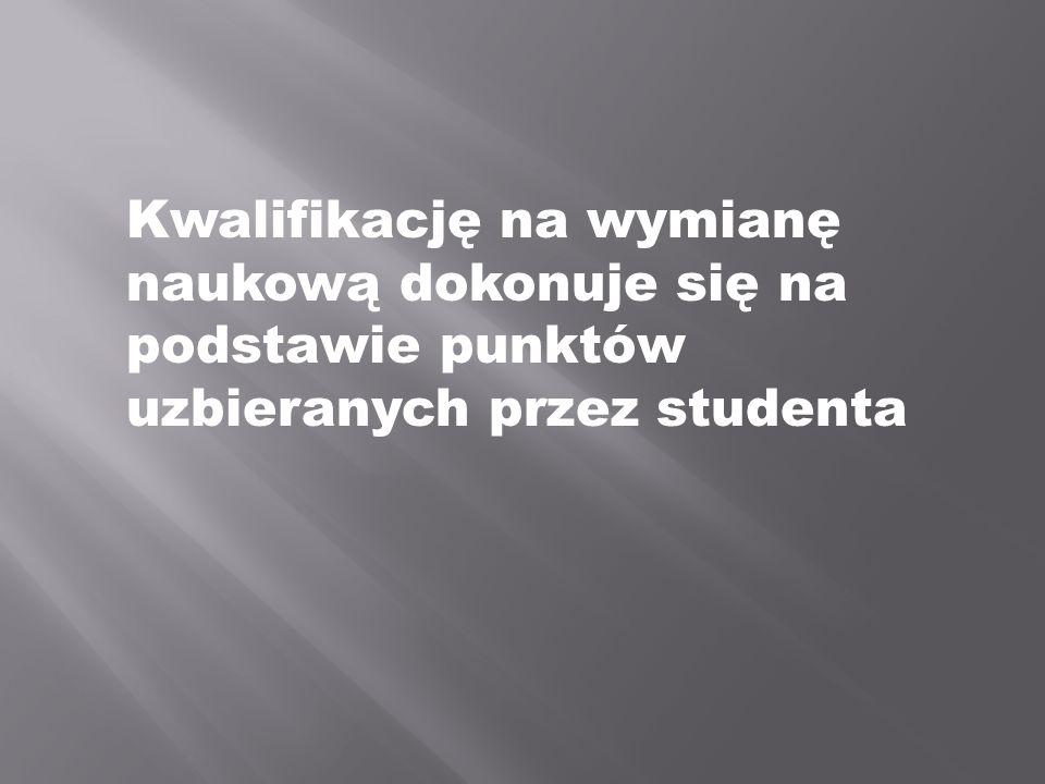 Kwalifikację na wymianę naukową dokonuje się na podstawie punktów uzbieranych przez studenta