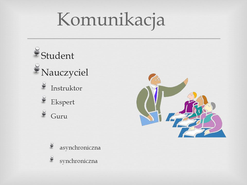 Komunikacja Student Nauczyciel Instruktor Ekspert Guru asynchroniczna