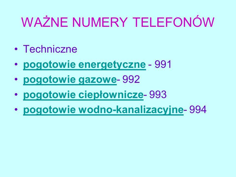WAŻNE NUMERY TELEFONÓW
