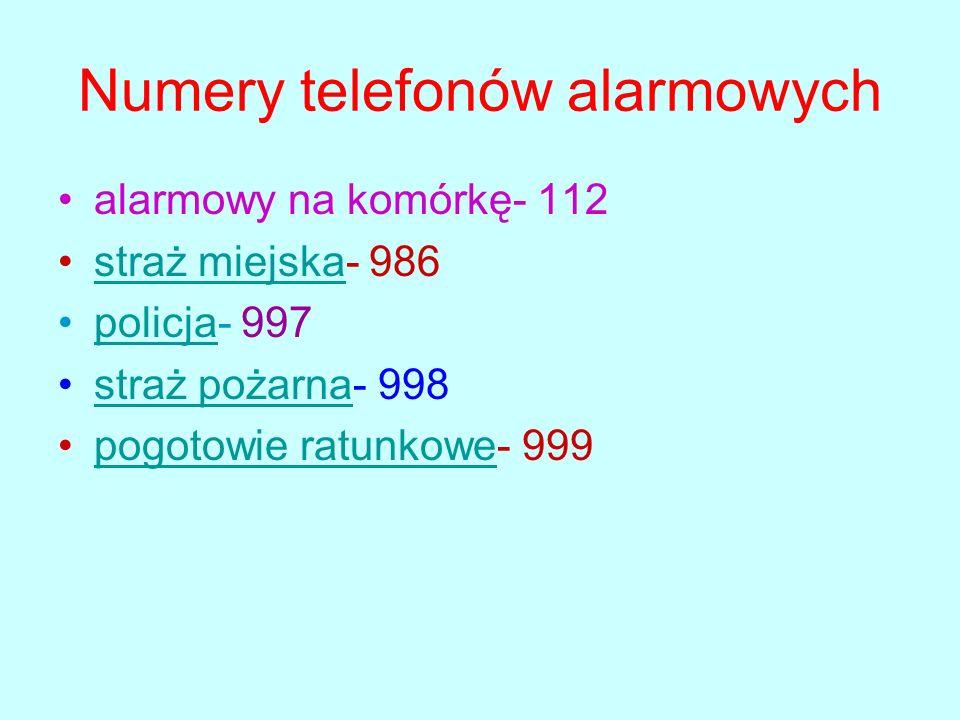 Numery telefonów alarmowych