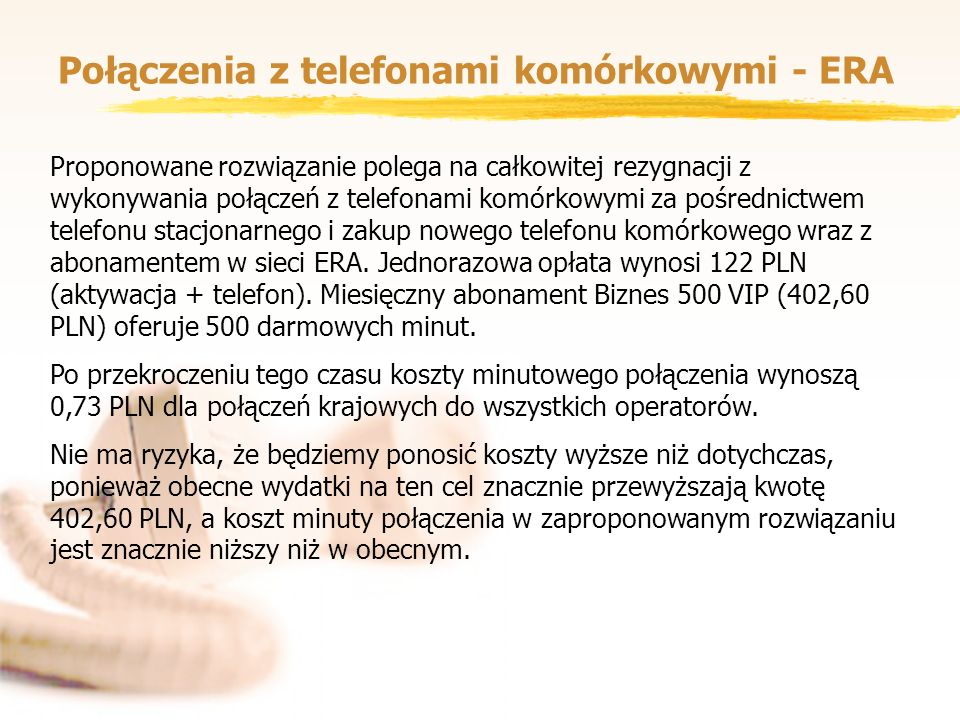 Połączenia z telefonami komórkowymi - ERA