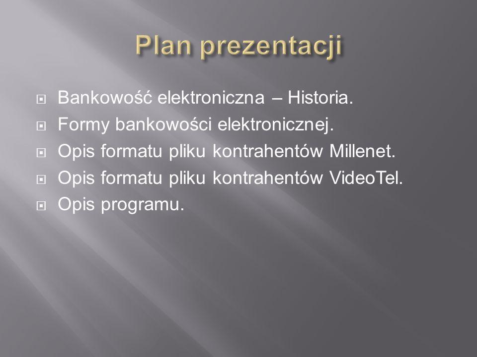 Plan prezentacji Bankowość elektroniczna – Historia.