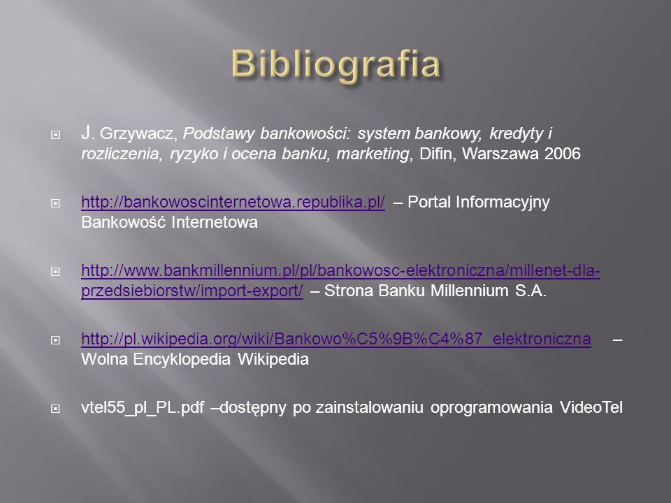 Bibliografia J. Grzywacz, Podstawy bankowości: system bankowy, kredyty i rozliczenia, ryzyko i ocena banku, marketing, Difin, Warszawa 2006.