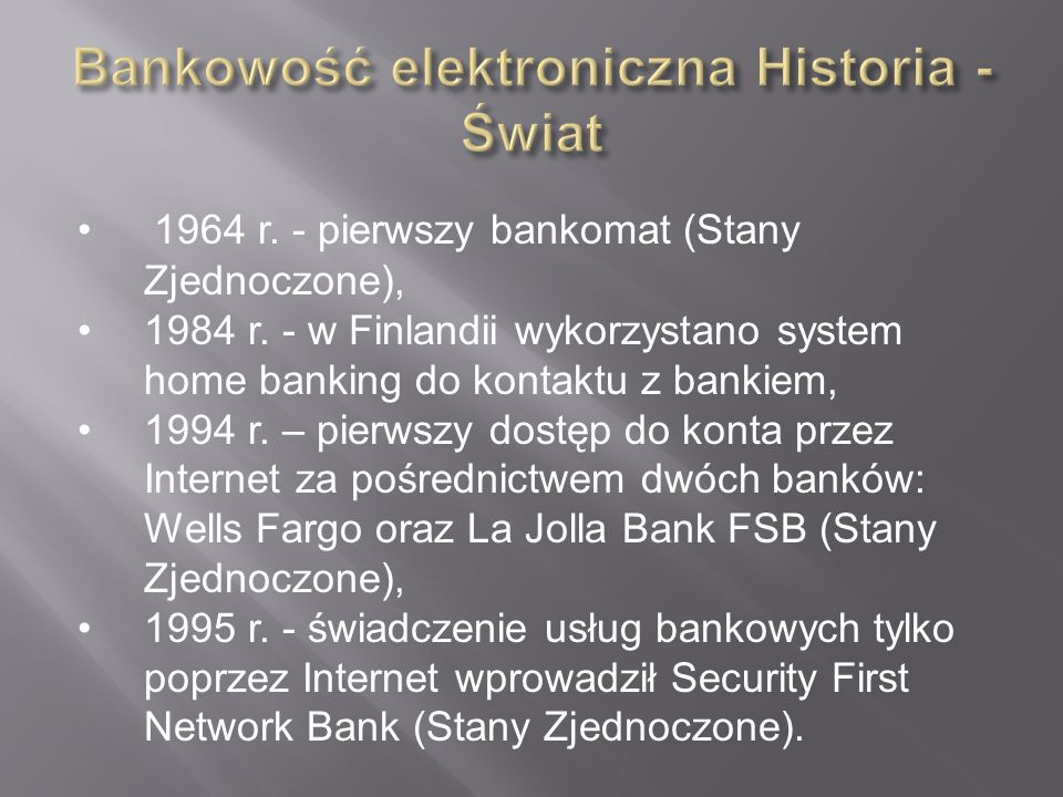 Bankowość elektroniczna Historia - Świat