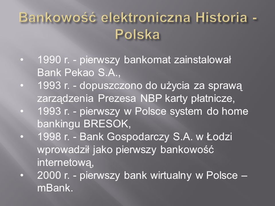 Bankowość elektroniczna Historia - Polska