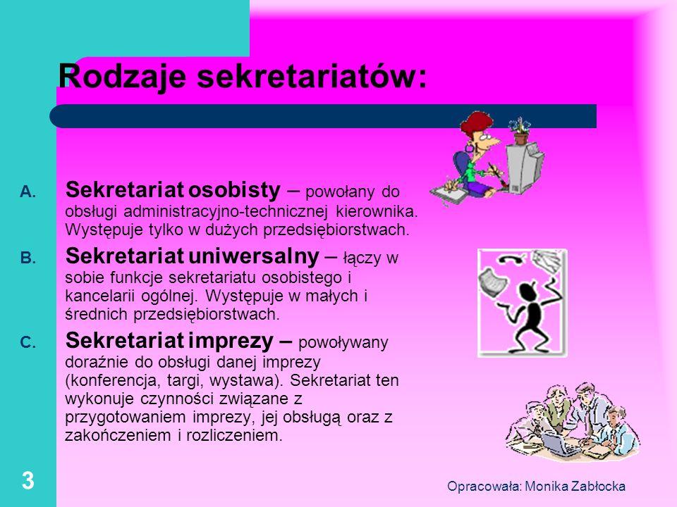 Rodzaje sekretariatów: