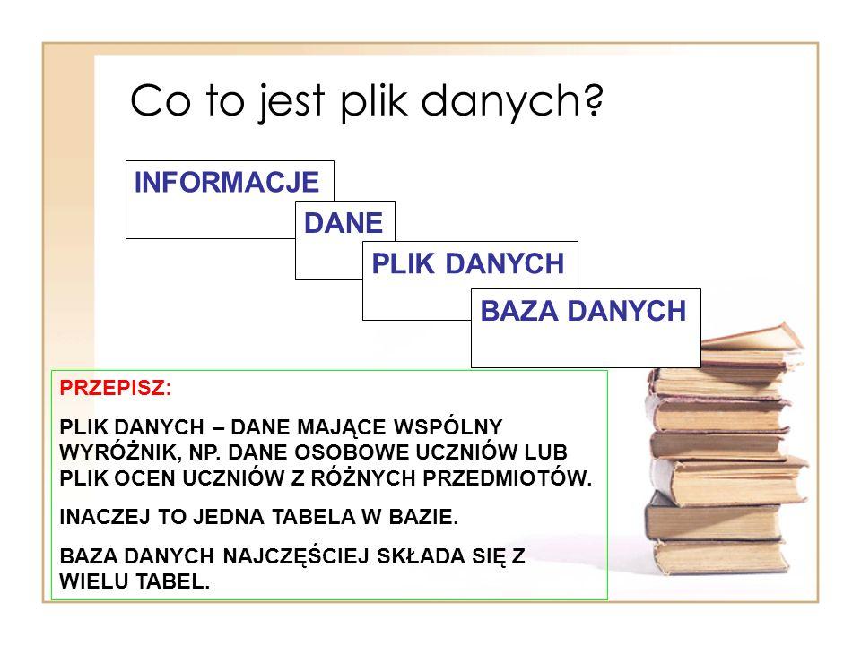 Co to jest plik danych INFORMACJE DANE PLIK DANYCH BAZA DANYCH