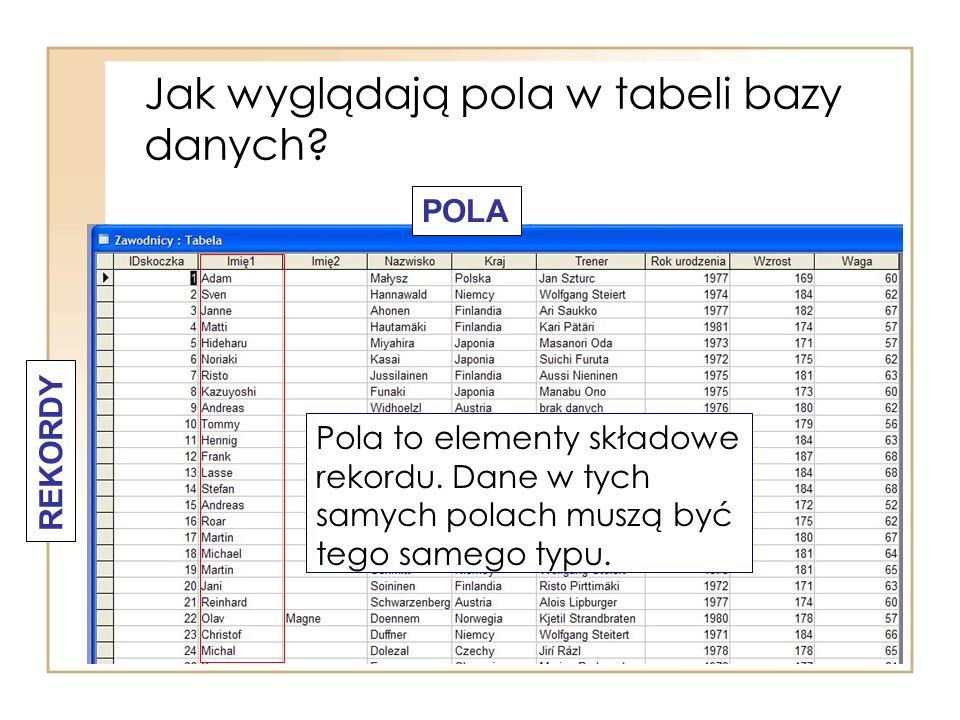 Jak wyglądają pola w tabeli bazy danych