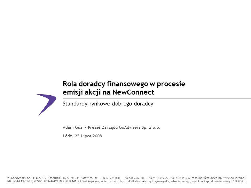 Rola doradcy finansowego w procesie emisji akcji na NewConnect