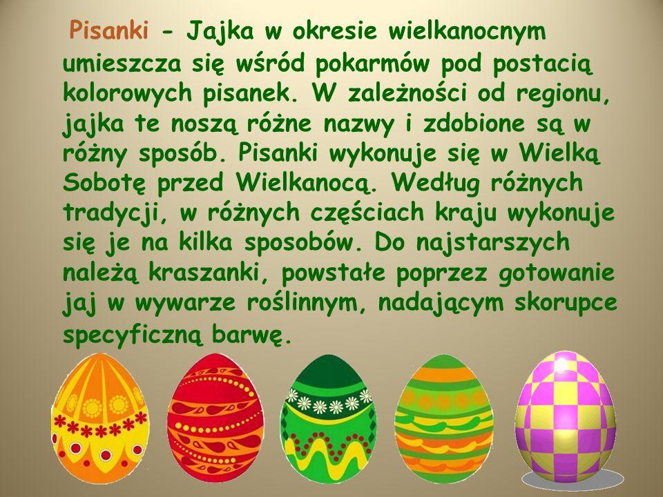 Pisanki - Jajka w okresie wielkanocnym umieszcza się wśród pokarmów pod postacią kolorowych pisanek.