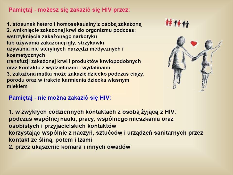 Pamiętaj - możesz się zakazić się HIV przez: