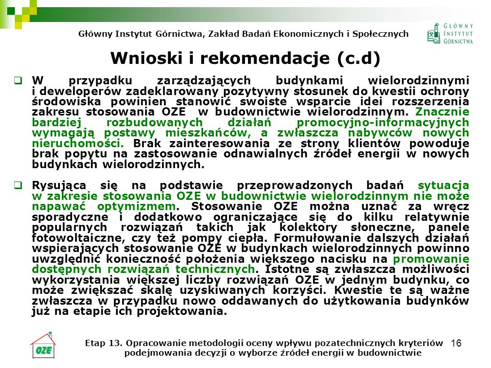 Wnioski i rekomendacje (c.d)