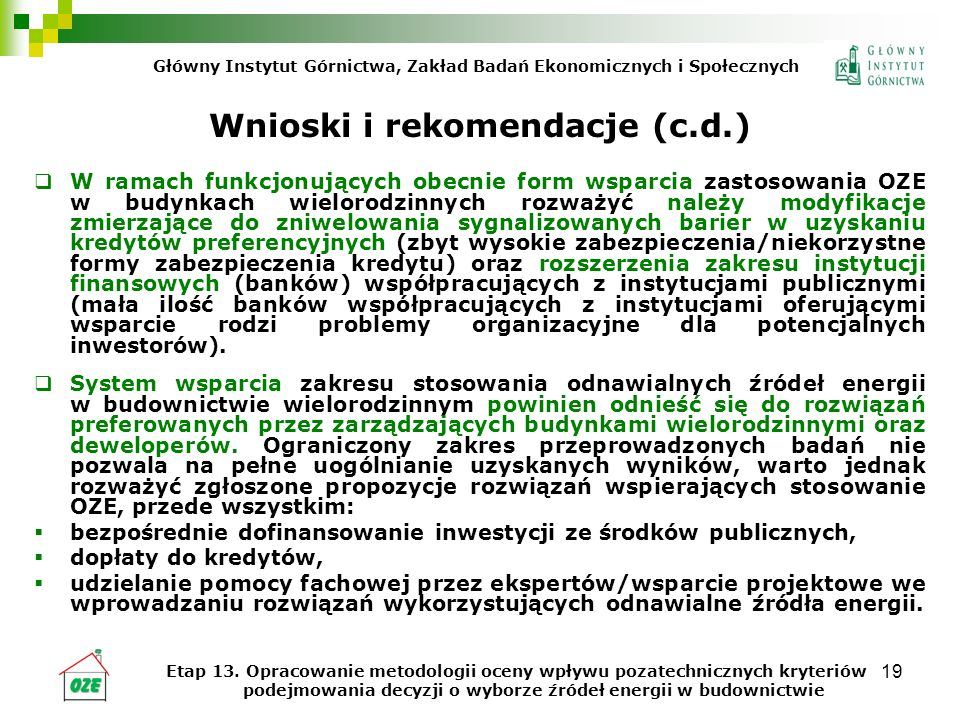 Wnioski i rekomendacje (c.d.)