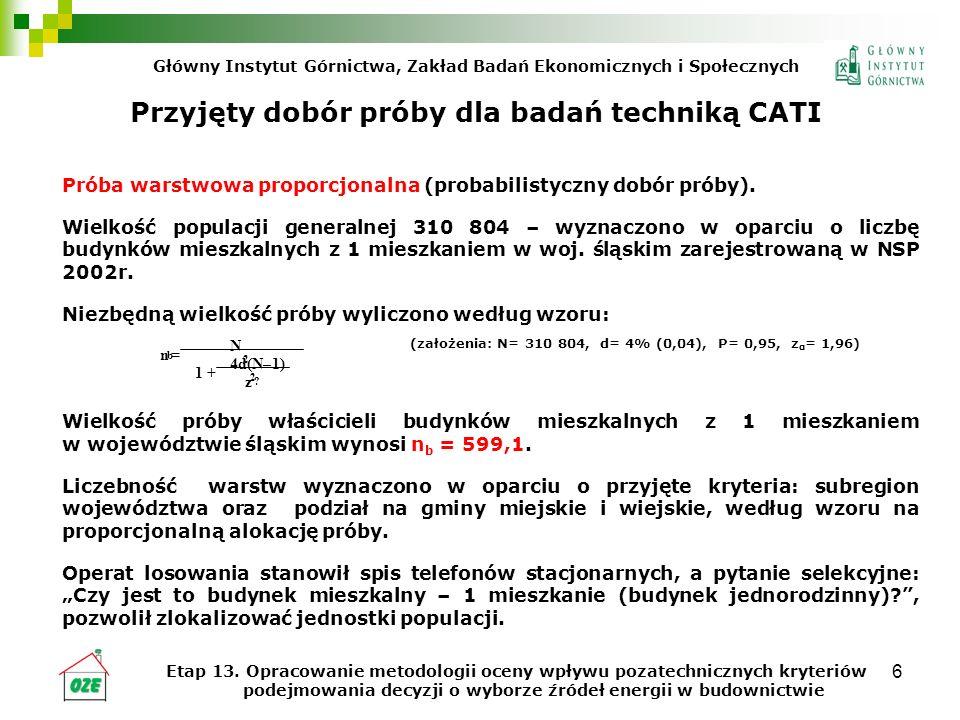 Przyjęty dobór próby dla badań techniką CATI