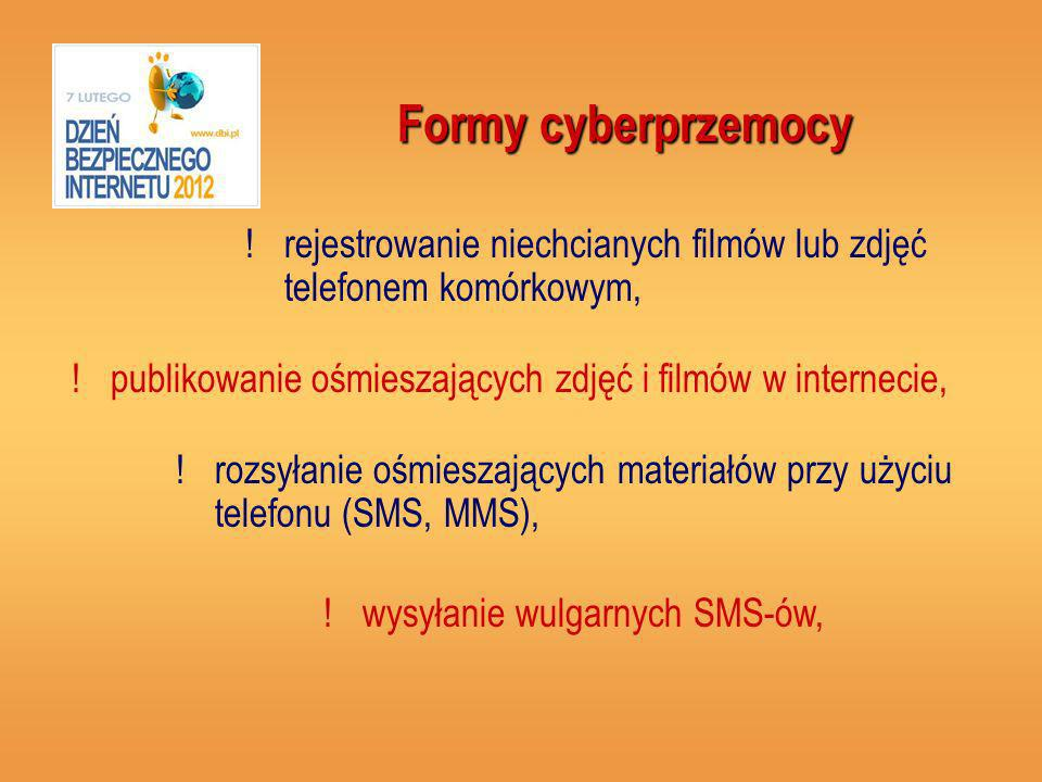 Formy cyberprzemocy rejestrowanie niechcianych filmów lub zdjęć telefonem komórkowym, publikowanie ośmieszających zdjęć i filmów w internecie,