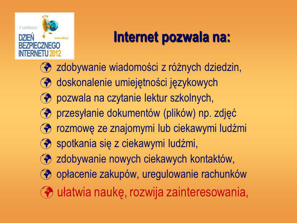 Internet pozwala na: ułatwia naukę, rozwija zainteresowania,