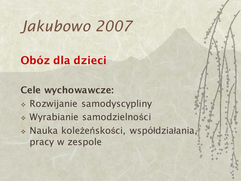 Jakubowo 2007 Obóz dla dzieci Cele wychowawcze: