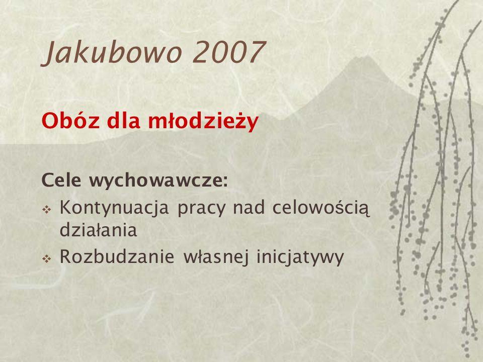 Jakubowo 2007 Obóz dla młodzieży Cele wychowawcze: