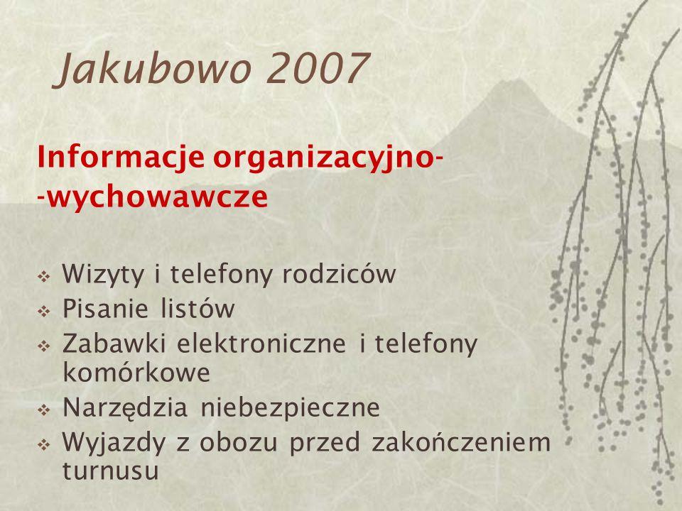 Jakubowo 2007 Informacje organizacyjno- -wychowawcze