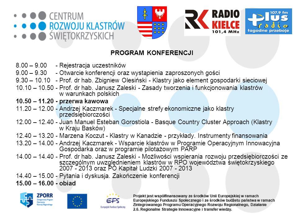 PROGRAM KONFERENCJI 8.00 – 9.00 - Rejestracja uczestników