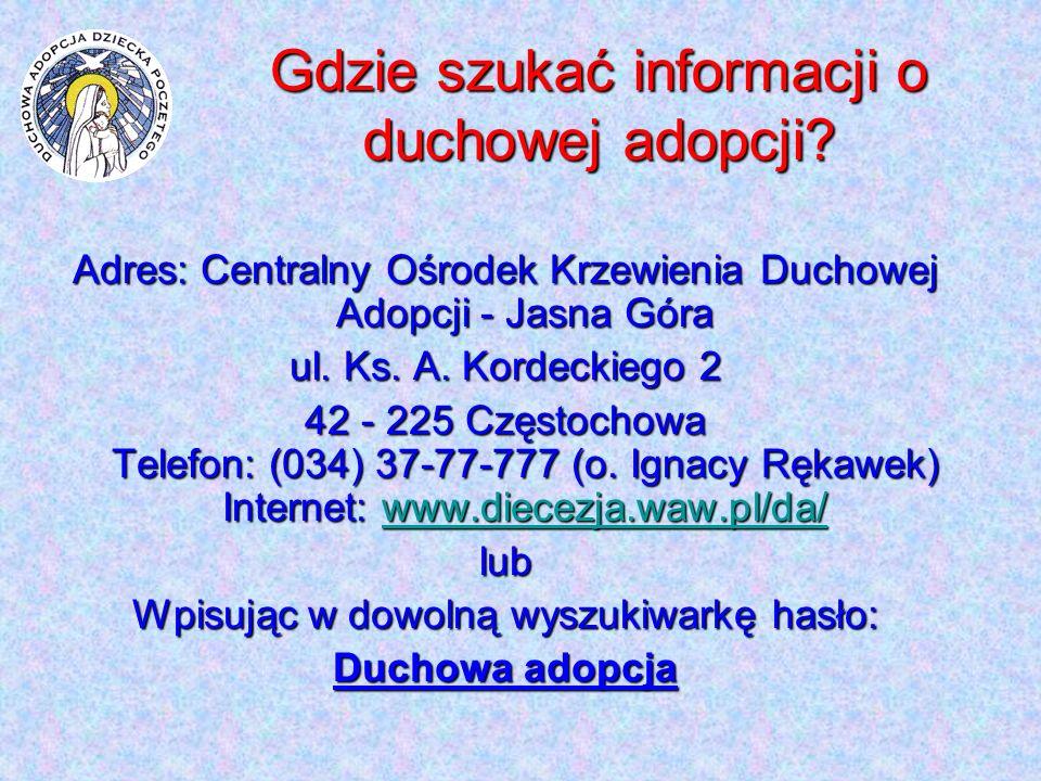 Gdzie szukać informacji o duchowej adopcji