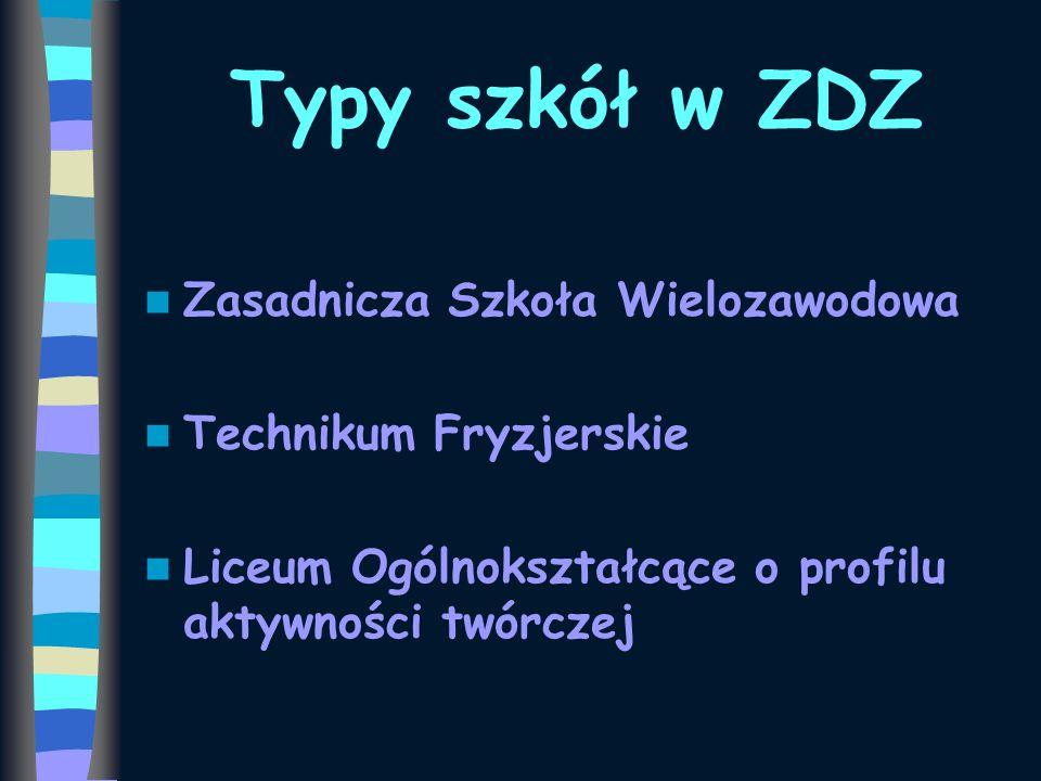 Typy szkół w ZDZ Zasadnicza Szkoła Wielozawodowa Technikum Fryzjerskie