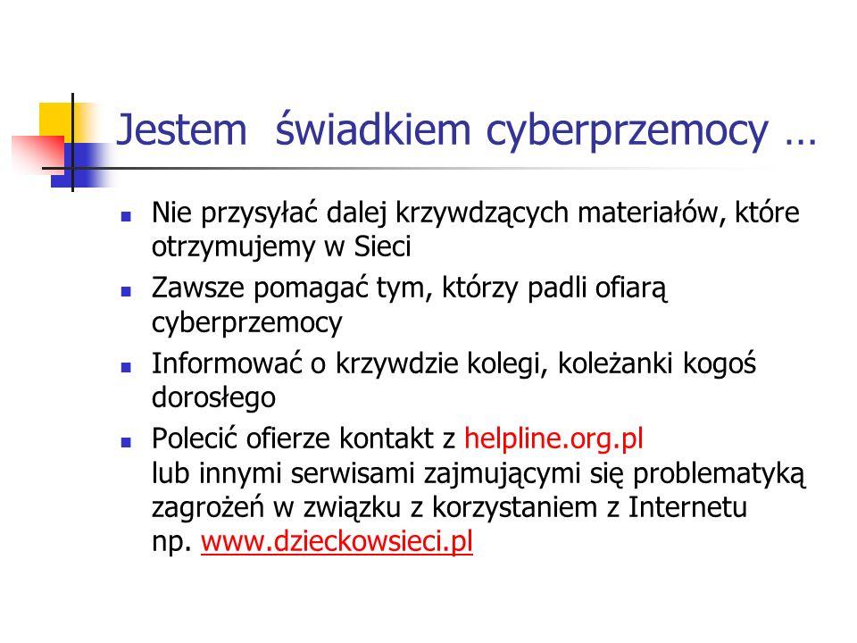 Jestem świadkiem cyberprzemocy …