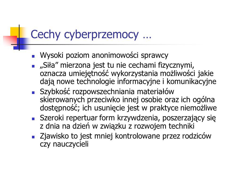 Cechy cyberprzemocy … Wysoki poziom anonimowości sprawcy