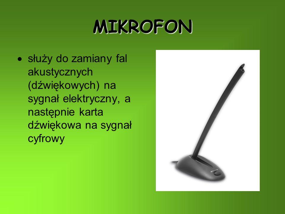MIKROFON służy do zamiany fal akustycznych (dźwiękowych) na sygnał elektryczny, a następnie karta dźwiękowa na sygnał cyfrowy.