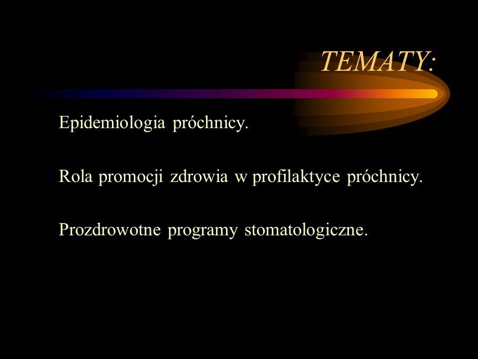 TEMATY: Epidemiologia próchnicy. Rola promocji zdrowia w profilaktyce próchnicy.