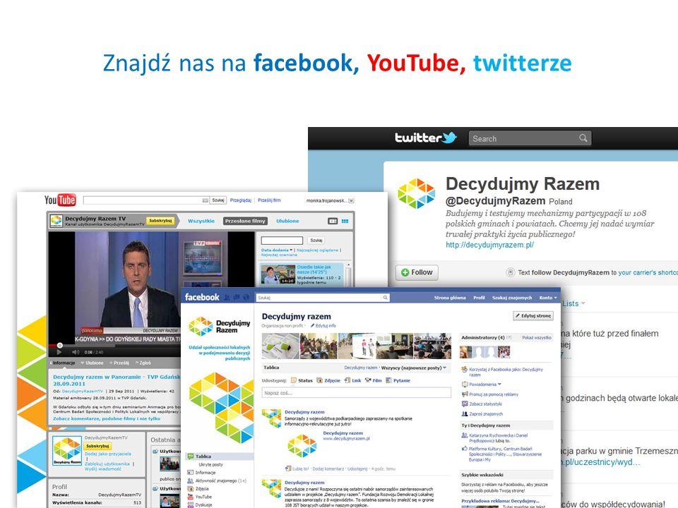 Znajdź nas na facebook, YouTube, twitterze