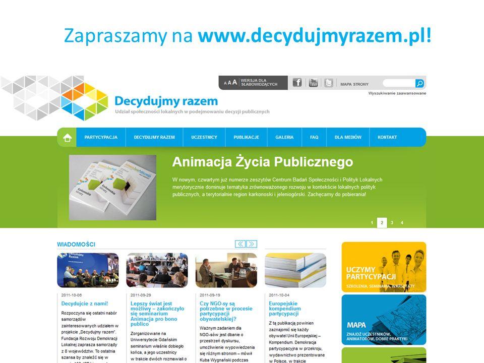 Zapraszamy na www.decydujmyrazem.pl!
