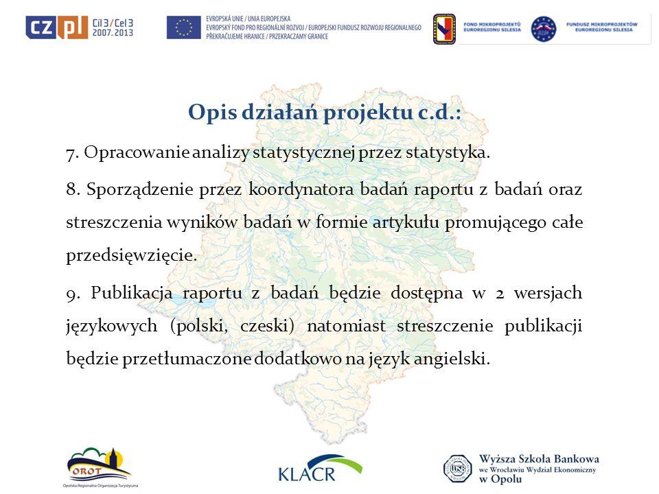 Opis działań projektu c.d.: