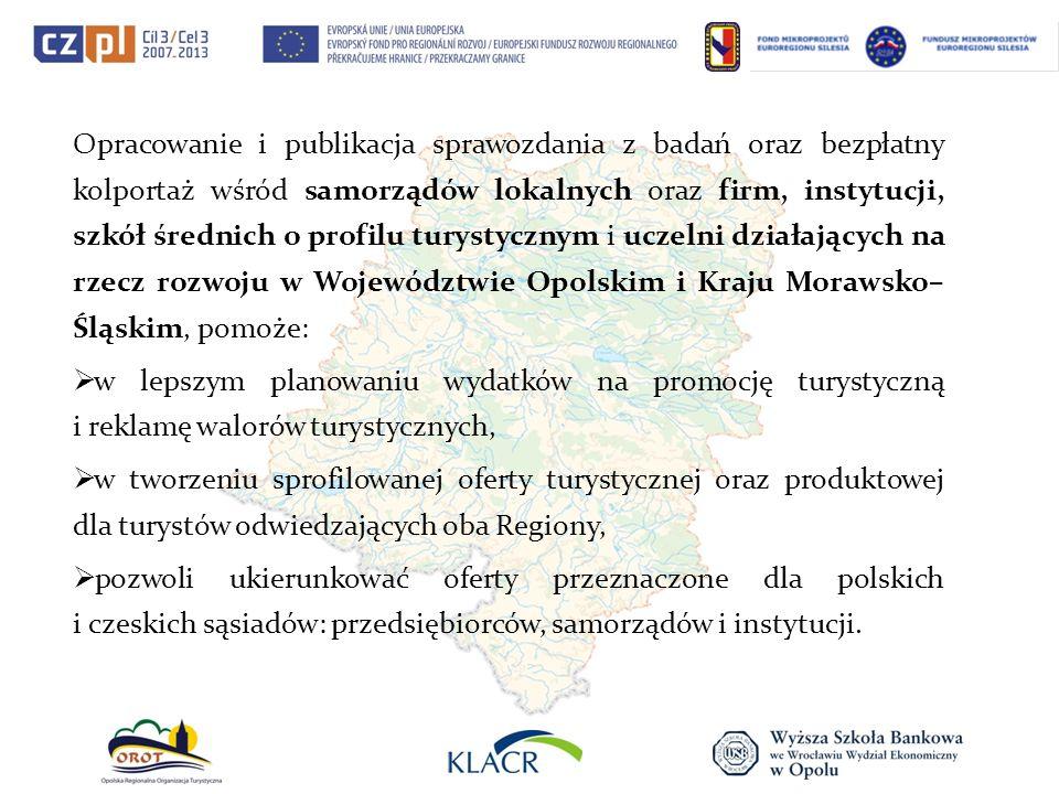 Opracowanie i publikacja sprawozdania z badań oraz bezpłatny kolportaż wśród samorządów lokalnych oraz firm, instytucji, szkół średnich o profilu turystycznym i uczelni działających na rzecz rozwoju w Województwie Opolskim i Kraju Morawsko–Śląskim, pomoże:
